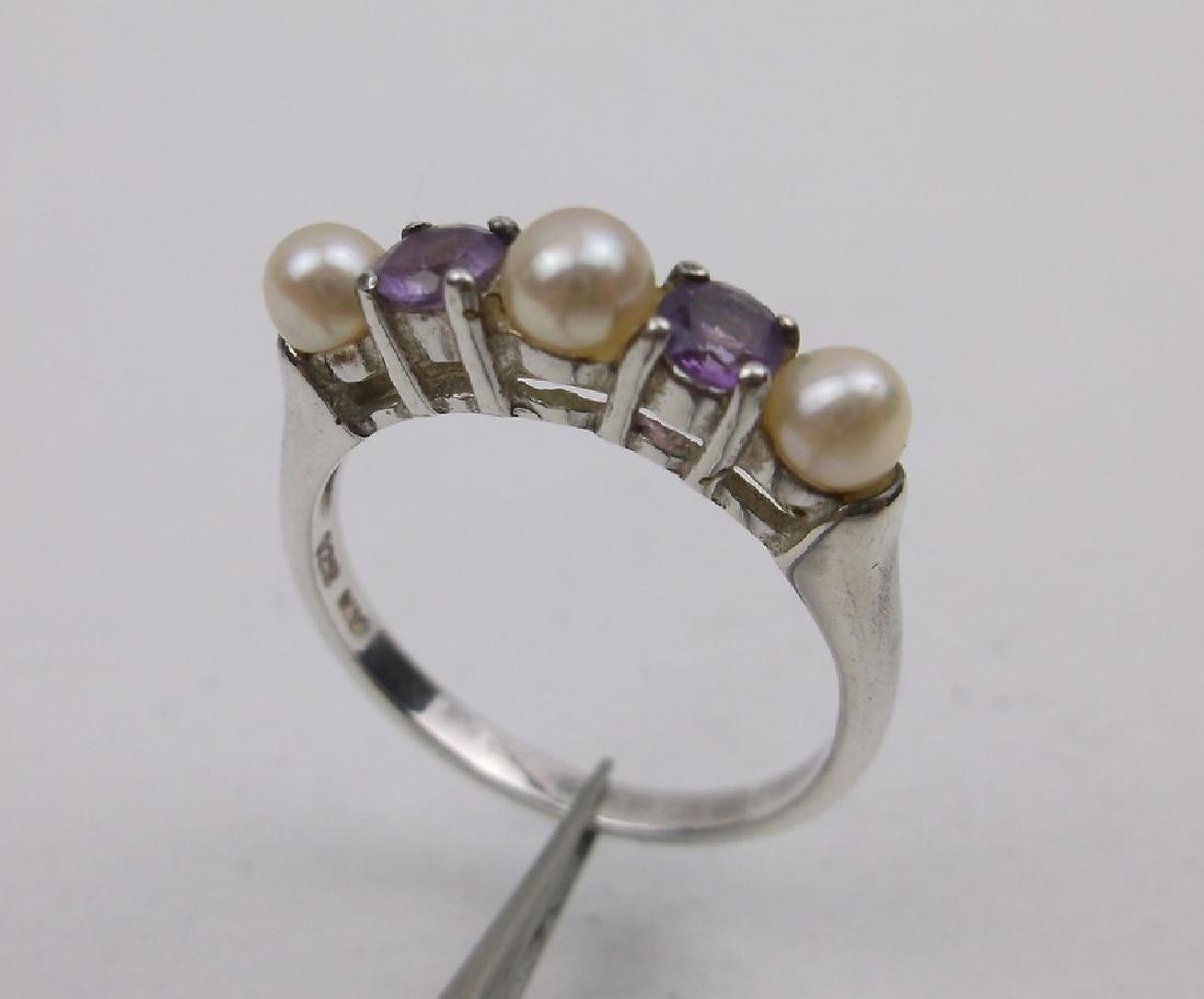 Gorgeous Sterling Amethyst Pearl Ring 6