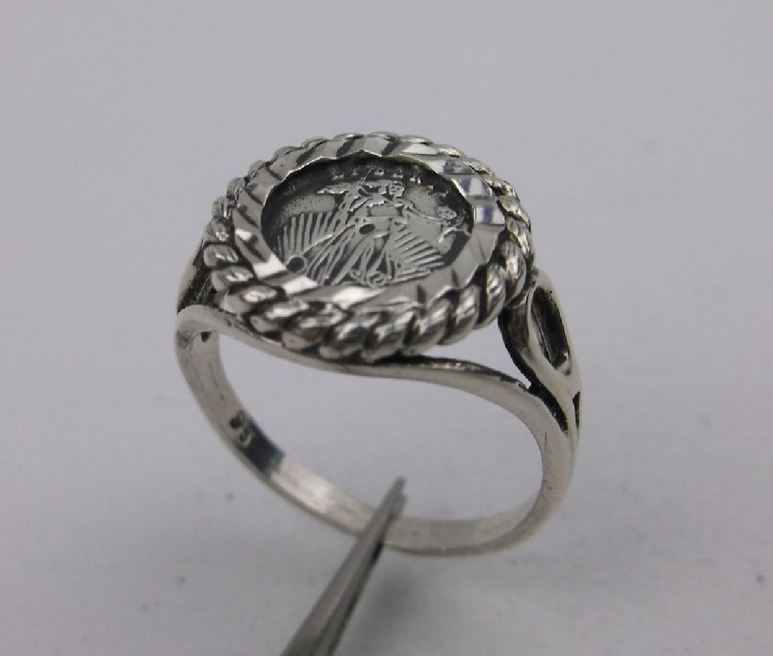 Stunning Vint Sterling Silver Coin Ring 6