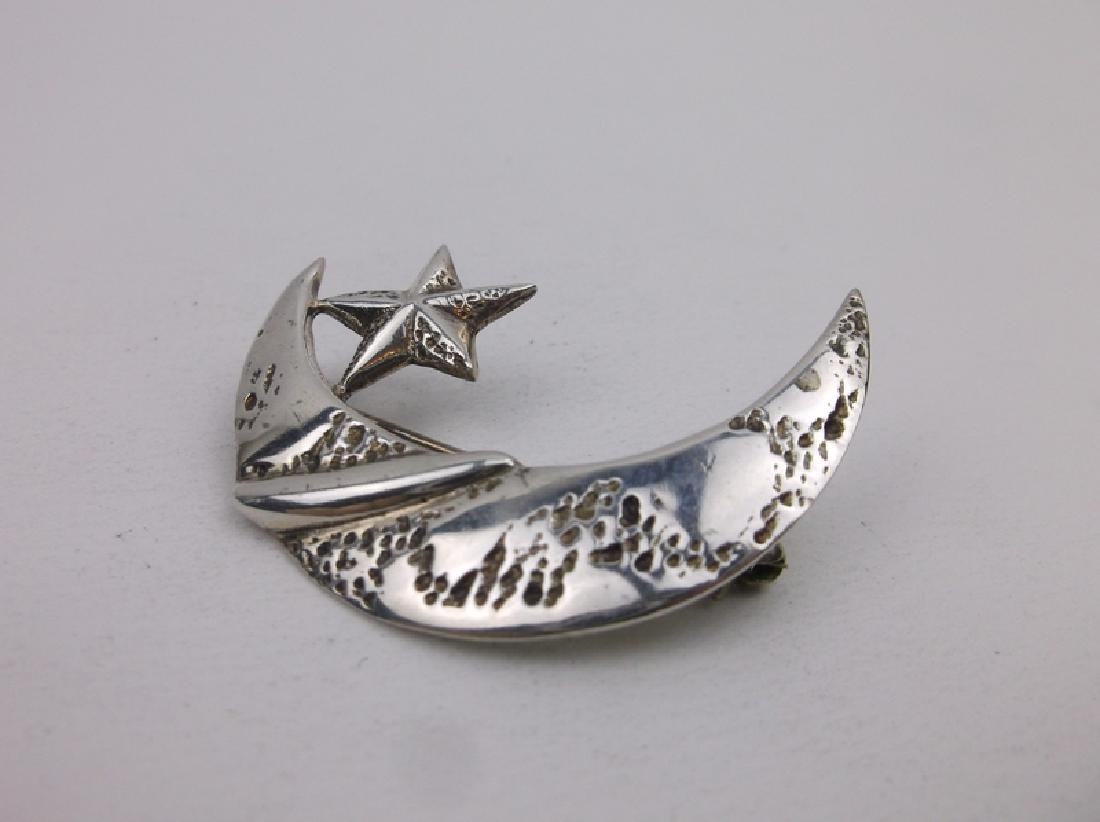 Gorgeous Sterling Silver Moon Star Brooch