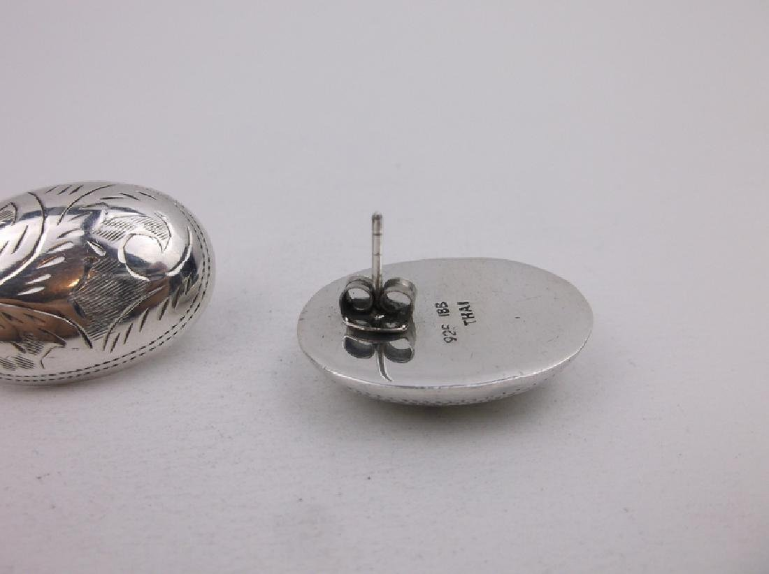 Stunning Large Sterling Silver Dome Earrings - 2