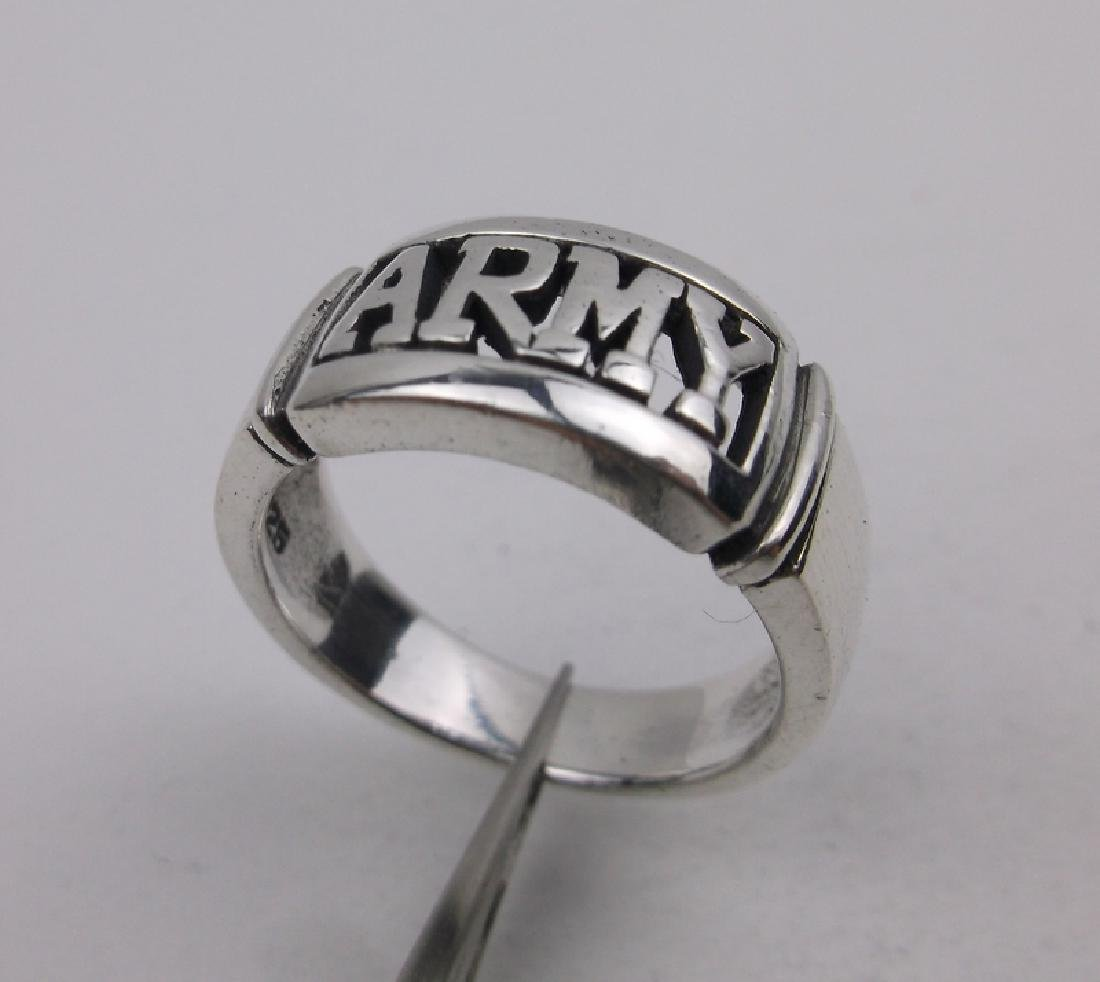Gorgeous Sterling Silver US Army Ring 8.5