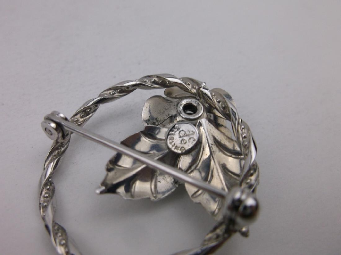 Gorg Vint DCE Sterling Silver Rose Brooch - 2