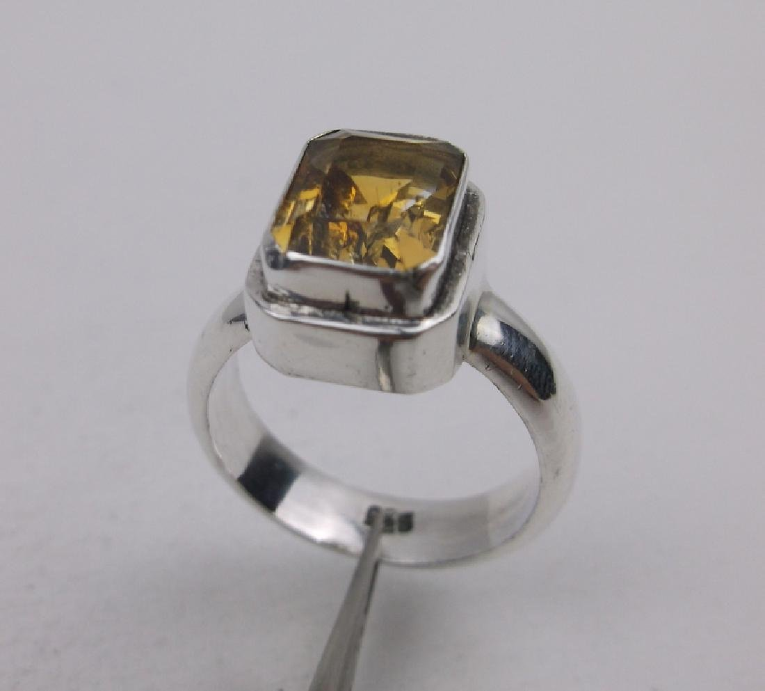 Stunning Sterling Yellow Topaz Ring 6