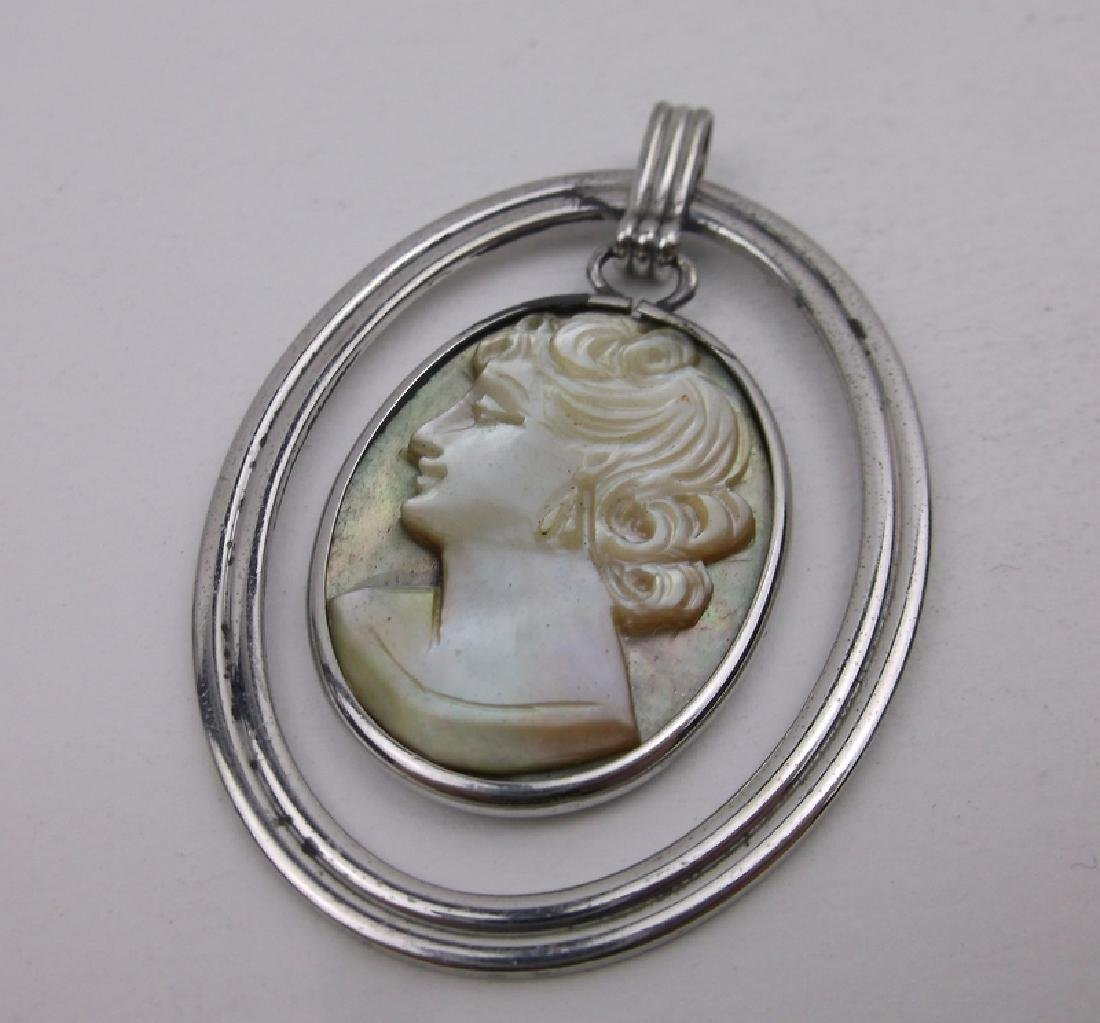Antique Van Dell Sterling Shell Cameo Pendant