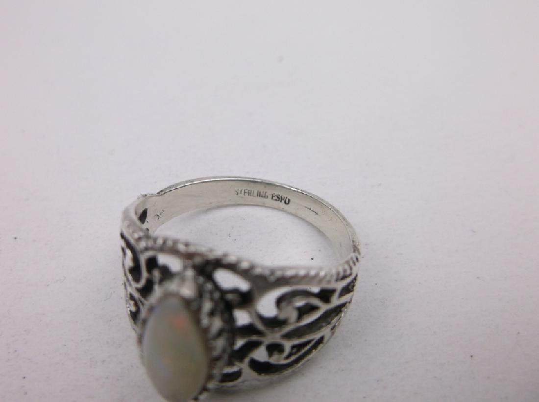 Vint Espo Sterling Silver Opal Ring 7 Gorgeous - 2