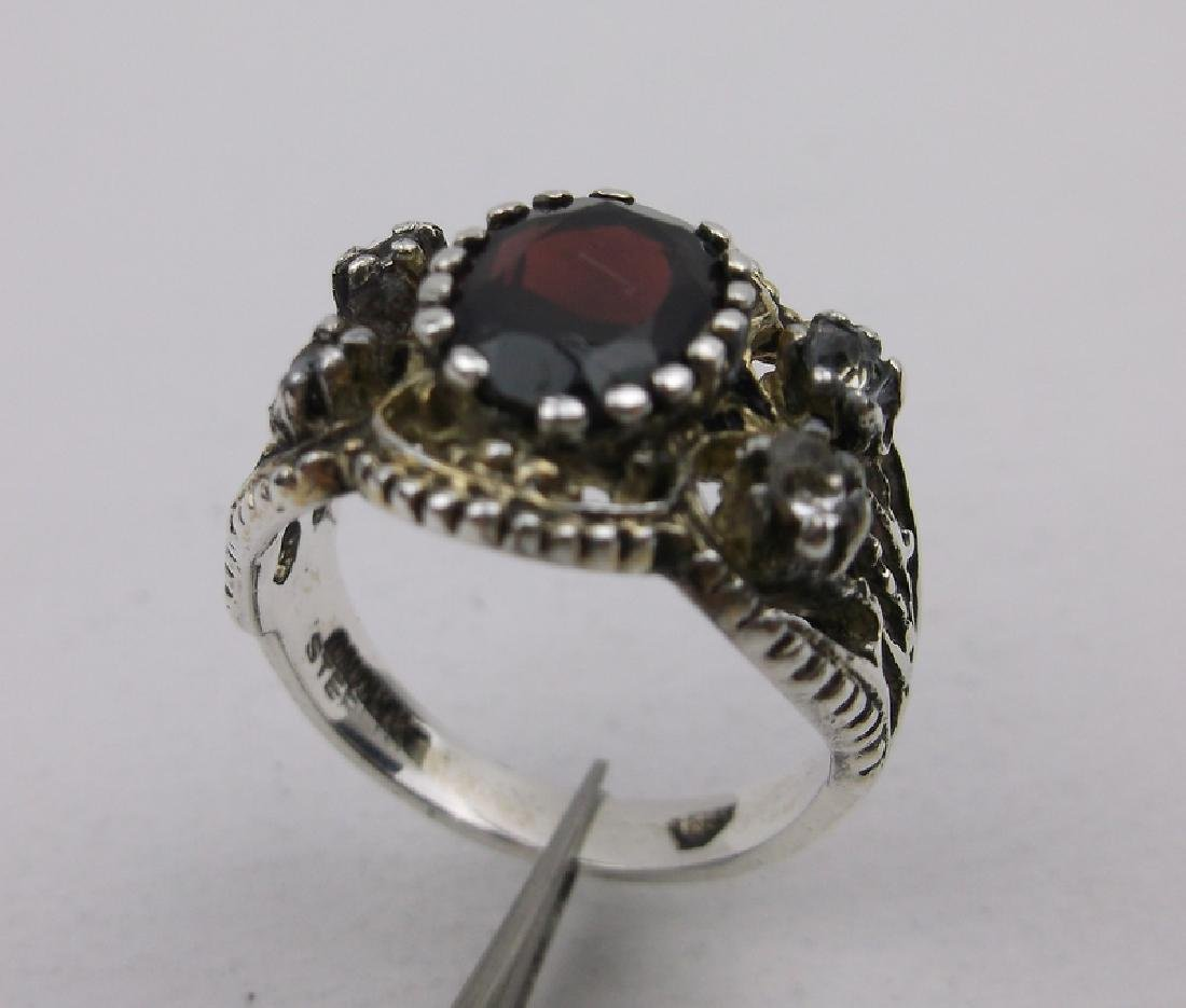 Gorgeous Antique Sterling Garnet Ring 7