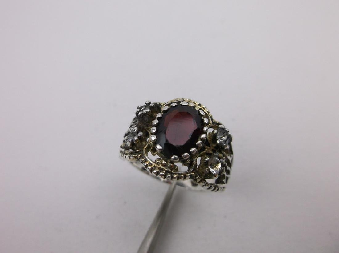 Gorgeous Antique Sterling Garnet Ring 7 - 2