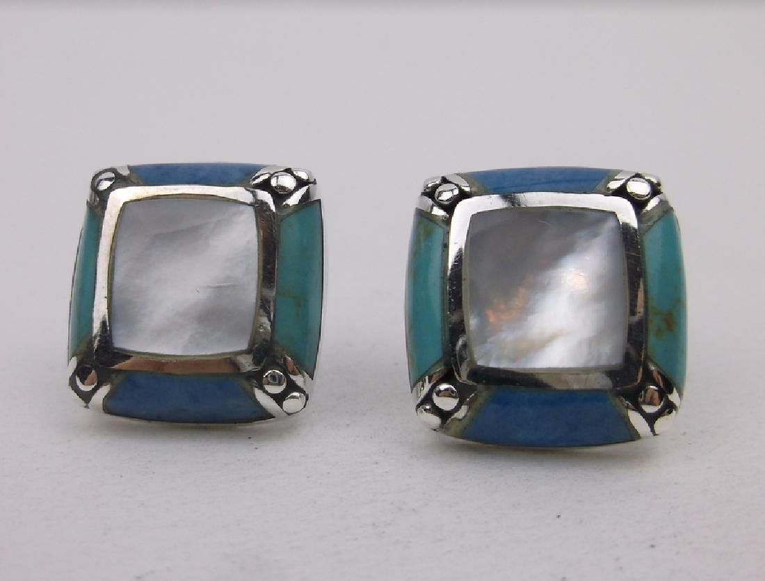 Sterling Turquoise Lapis Stud Earrings Gorgeous