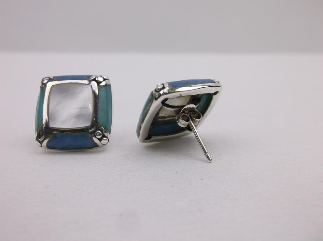 Sterling Turquoise Lapis Stud Earrings Gorgeous - 2