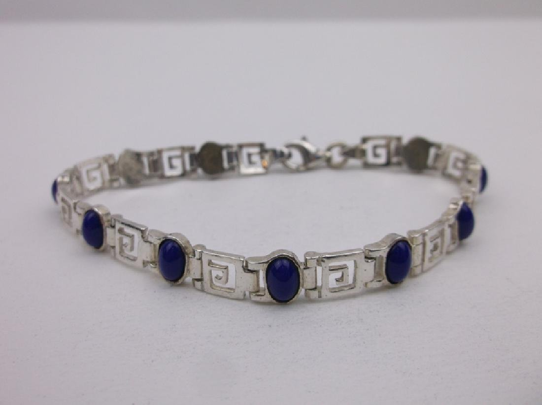 "Stunning Sterling Silver Lapis Bracelet 7.5"""