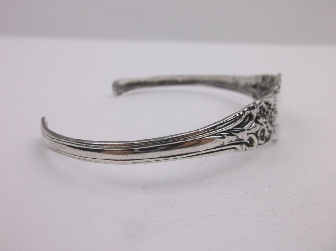 Stunning Large Sterling Silver Cuff Bracelet Ornate - 2