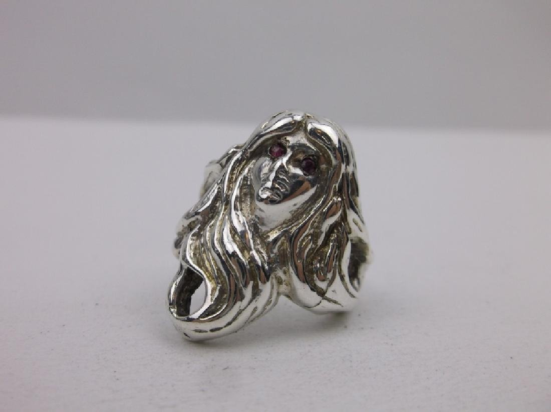 Sterling Silver Ruby Eyed Sailors Ring 6.25 1950s - 2