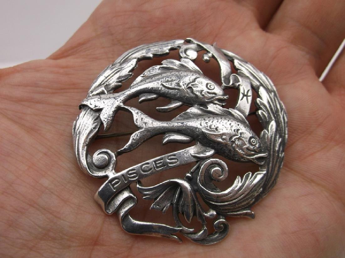 1960s Peruzzi Sterling Large Pisces Fish Brooch Pendant