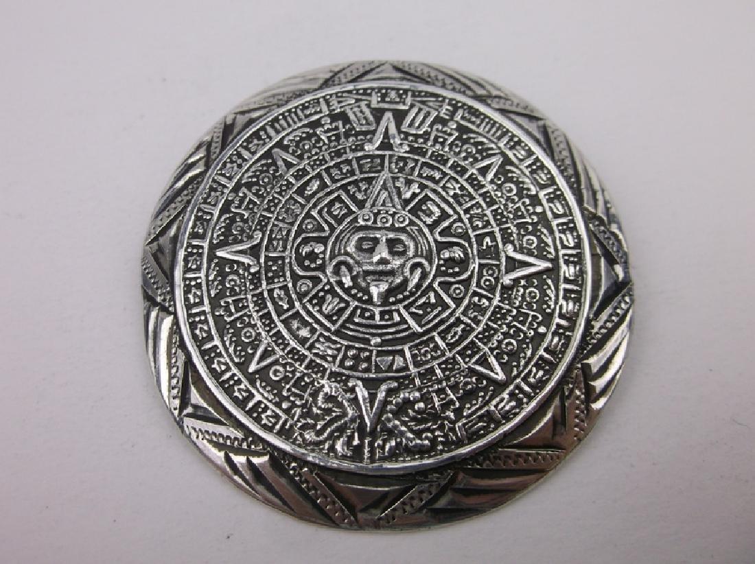 Vint Taxco Sterling Silver Mayan Pendant Brooch