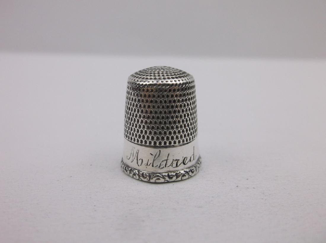 Antique Sterling Silver Sewing Thimble Gorgeous - 2