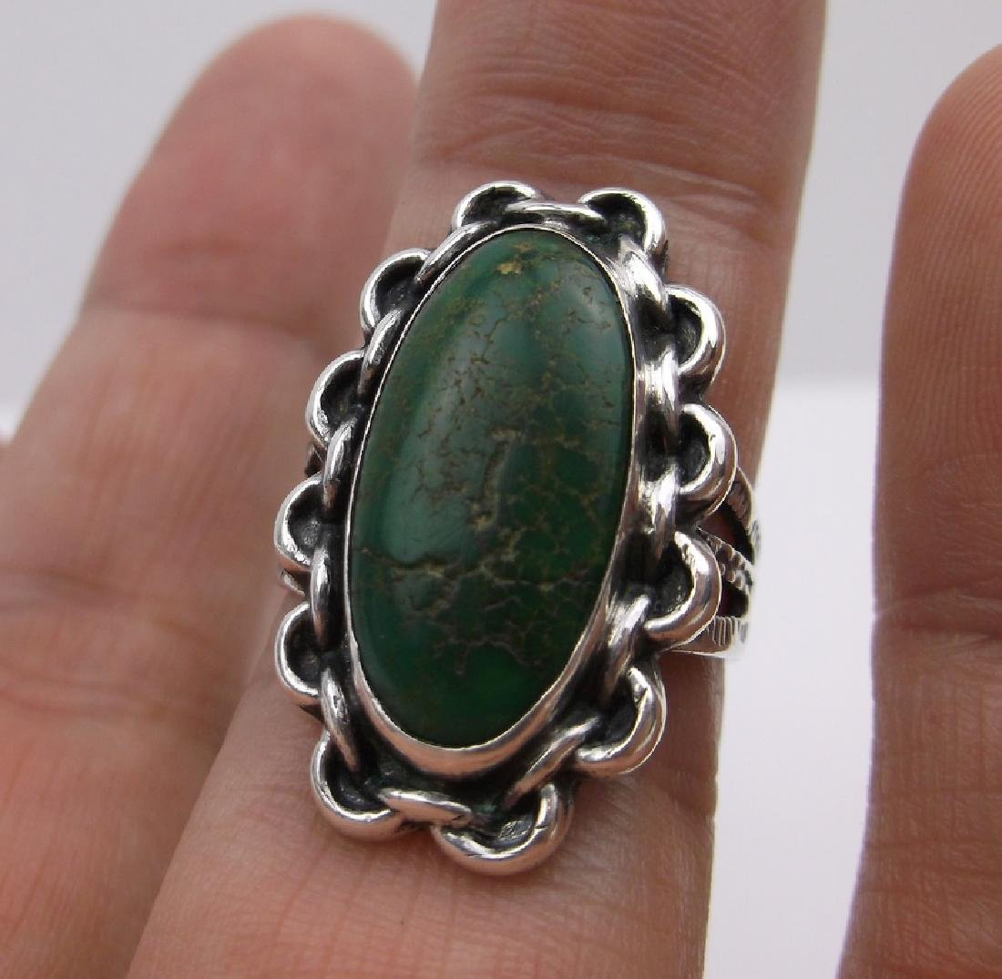 1950s Old Pawn Sterling Turquoise Ring 7