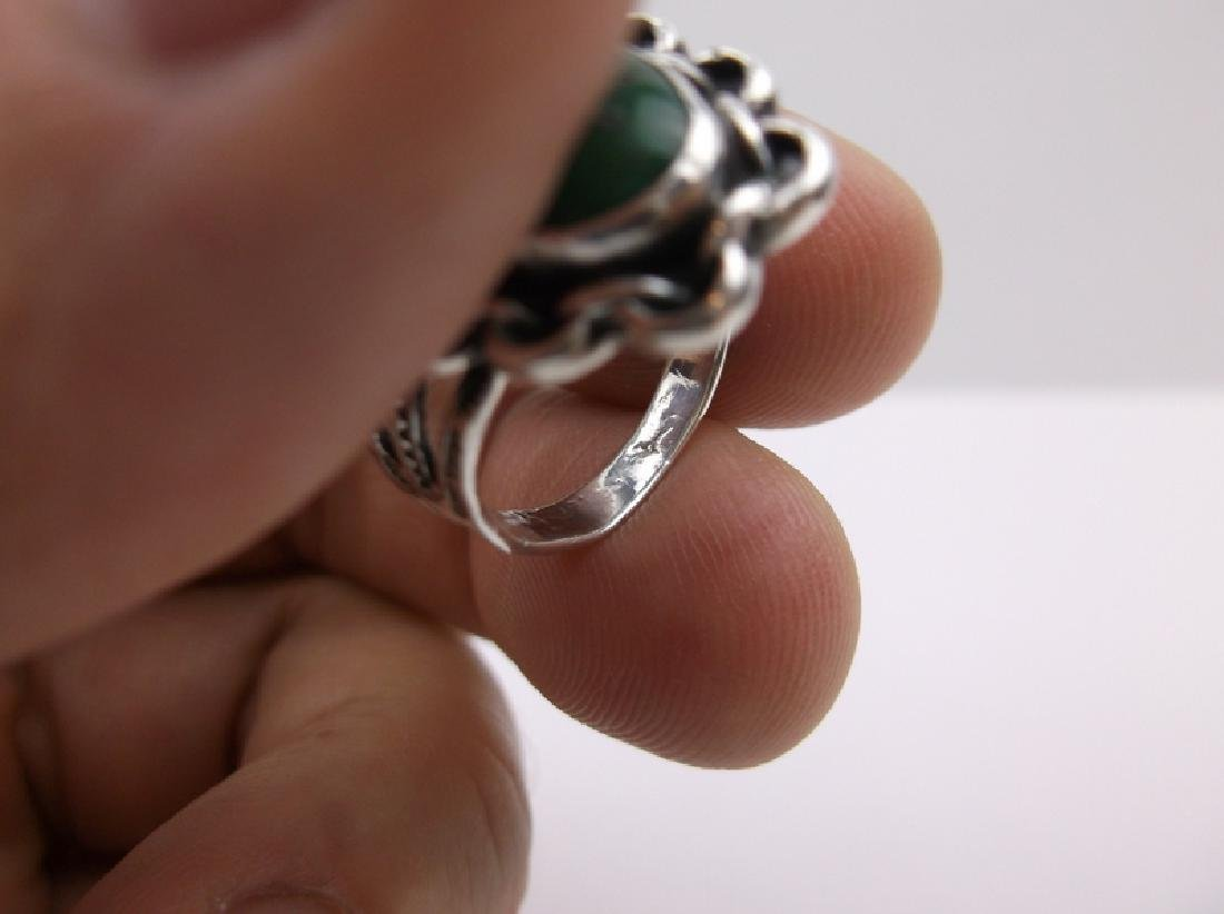 1950s Old Pawn Sterling Turquoise Ring 7 - 3