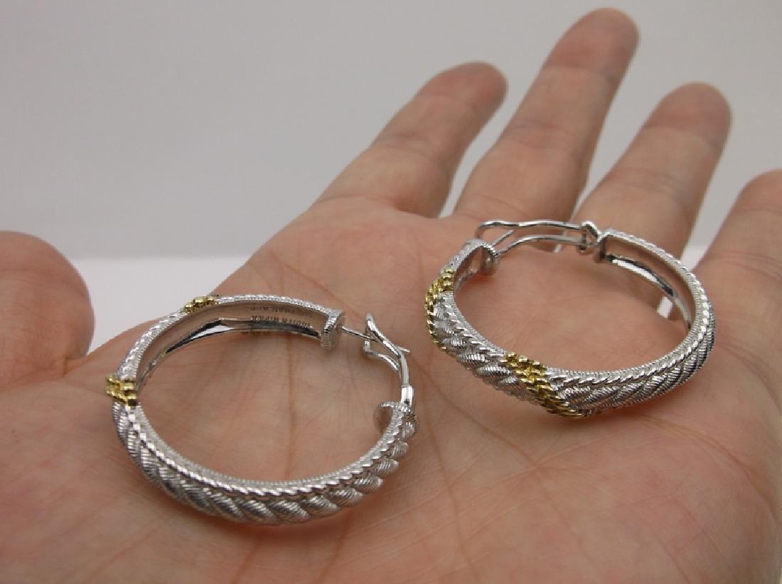 Huge Judith Ripka Sterling Hoop Earrings Stunning - 2