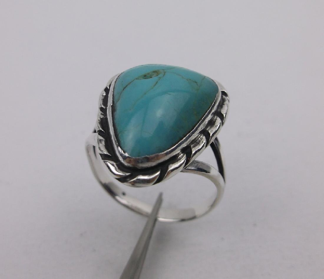 Navajo Sterling Turquoise Ring 6.5 Stunning