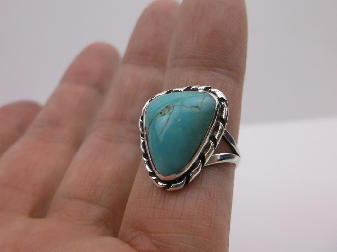 Navajo Sterling Turquoise Ring 6.5 Stunning - 2
