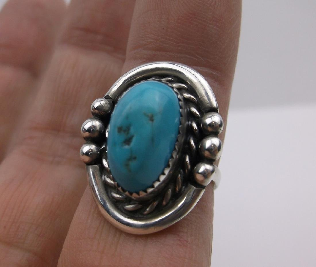 Navajo Sterling Turquoise Ring 5.5 ME Stunning