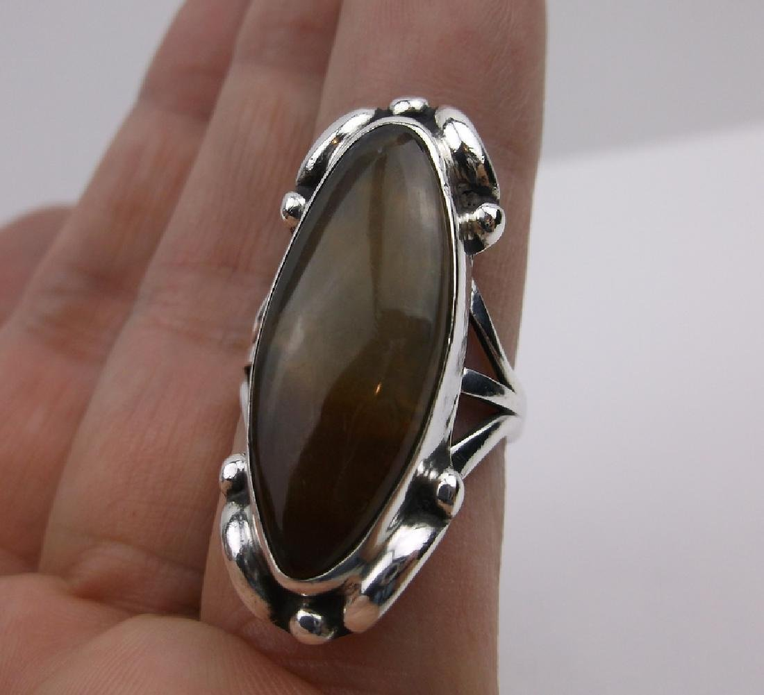 Large Navajo Sterling Gold Calcite Ring 6.5 Stunning