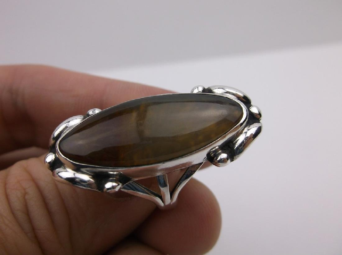 Large Navajo Sterling Gold Calcite Ring 6.5 Stunning - 2