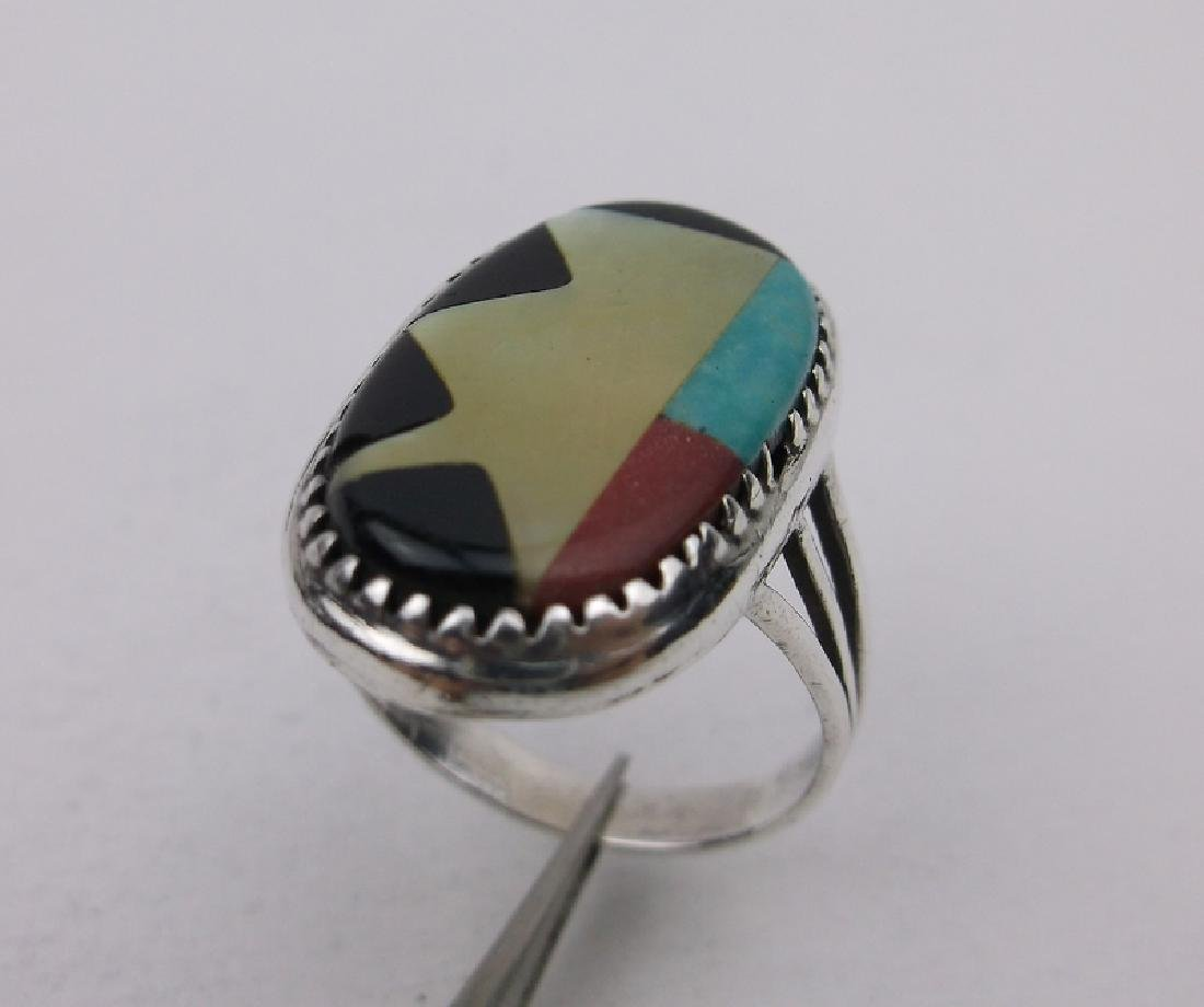 Stunning Sterling Zuni Turquoise Inlay Ring 5