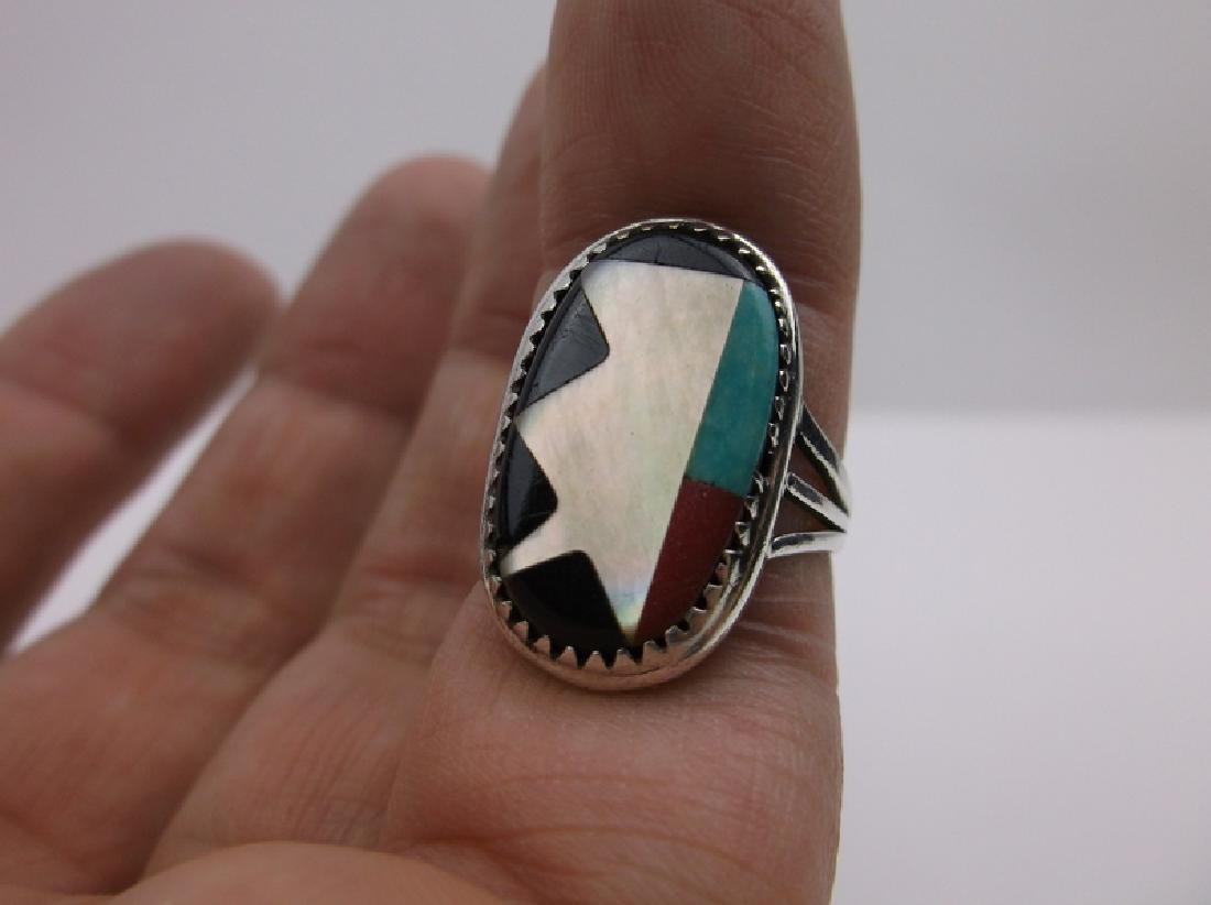 Stunning Sterling Zuni Turquoise Inlay Ring 5 - 2