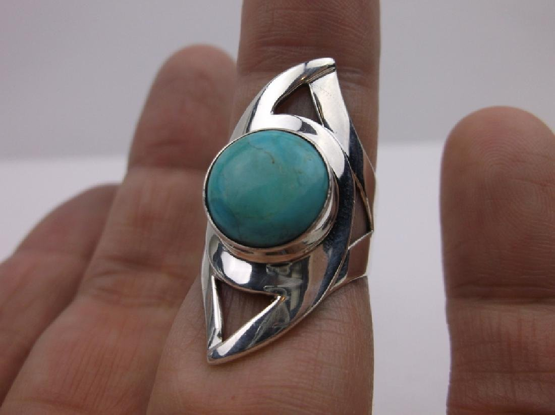DTR Sterling Silver Turquoise Ring 7.75 Stunning
