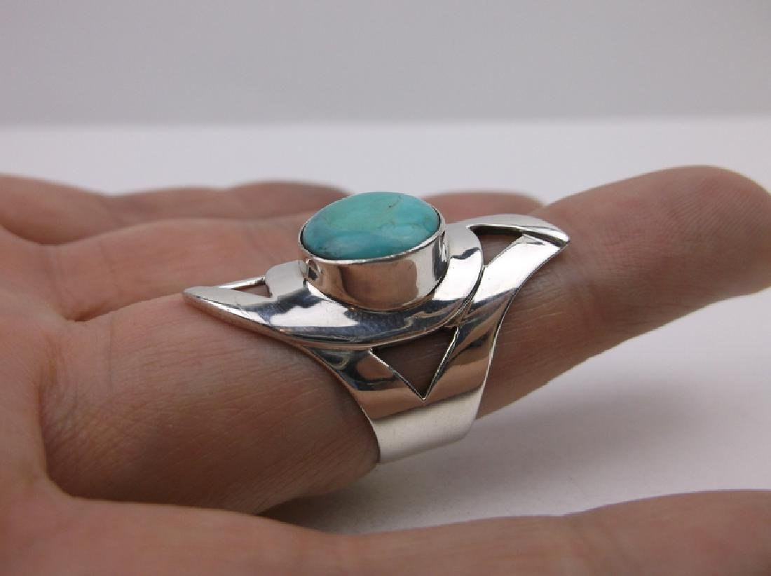 DTR Sterling Silver Turquoise Ring 7.75 Stunning - 2