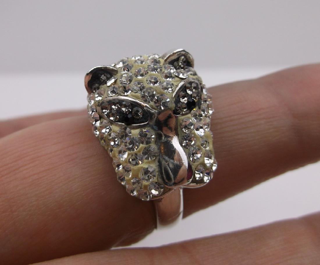 Stunning Sterling Silver Panther Ring 8.5