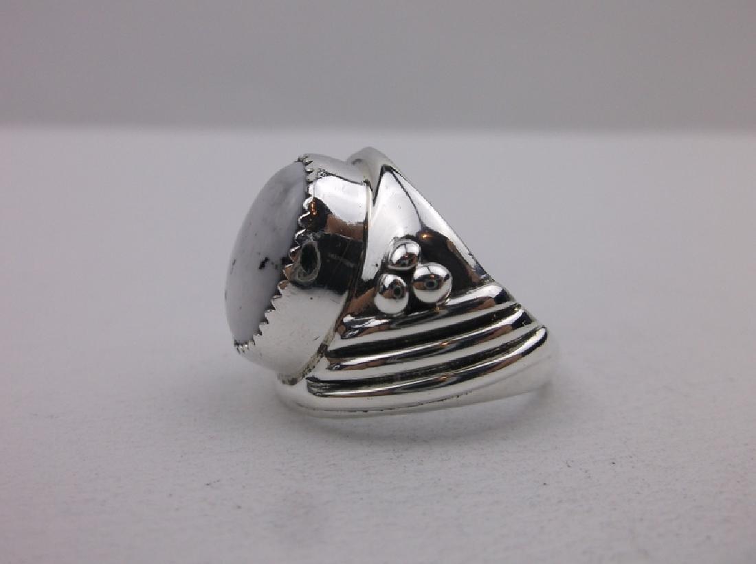 Huge Navajo Sterling Howlite Ring 9.25 Stunning - 2