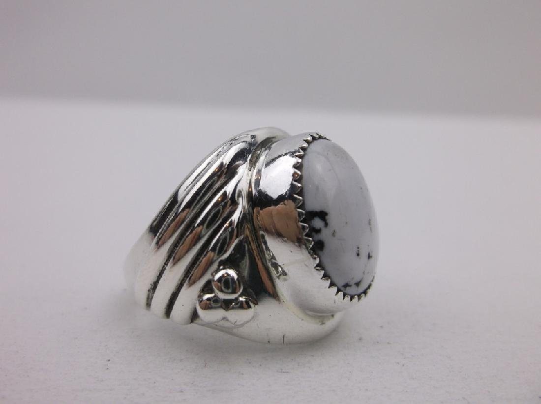 Huge Navajo Sterling Howlite Ring 9.25 Stunning - 4