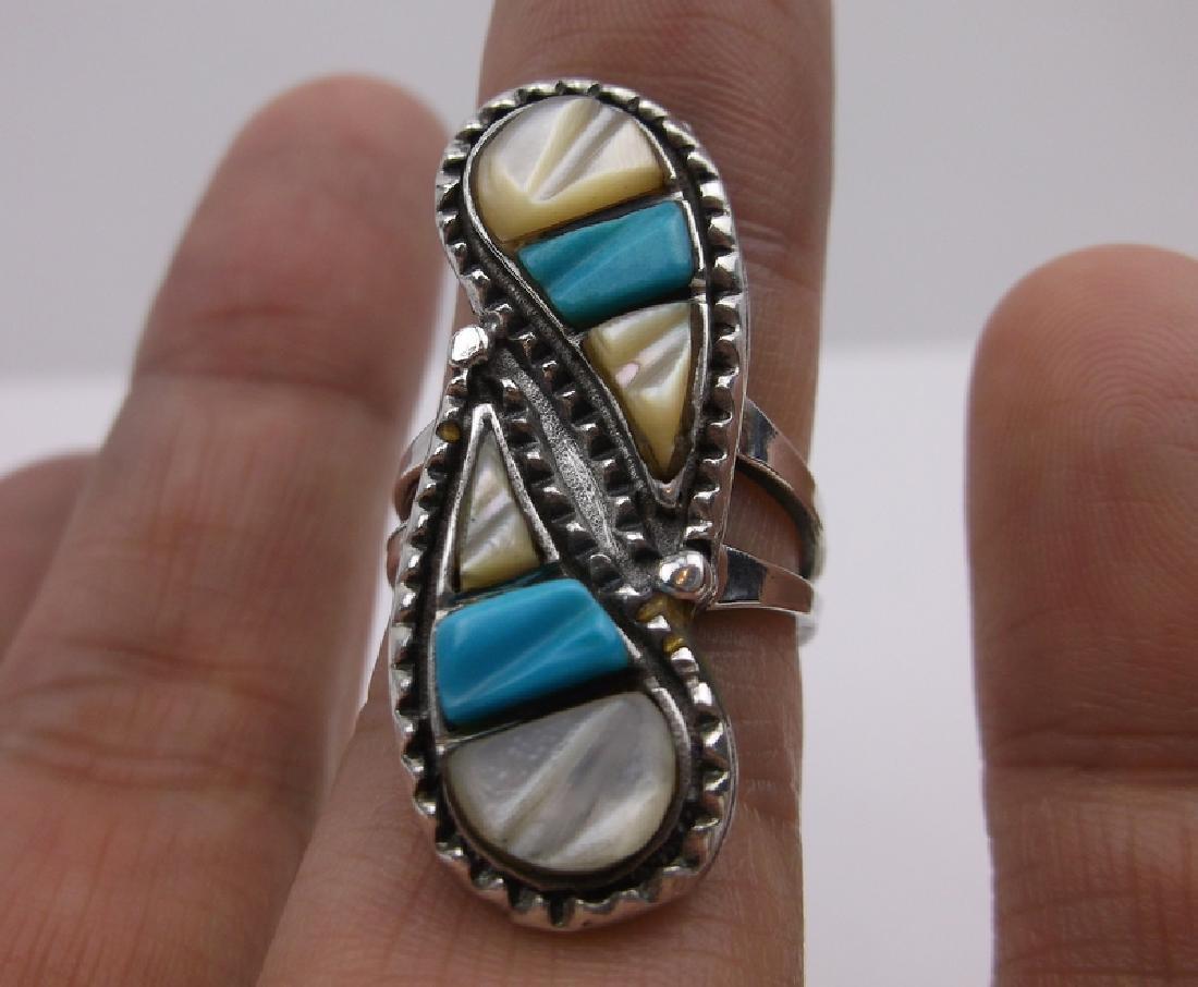 Navajo Sterling Turquoise MOP Ring 6.5 Stunning