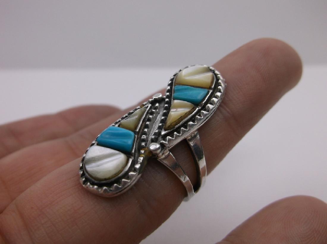 Navajo Sterling Turquoise MOP Ring 6.5 Stunning - 2