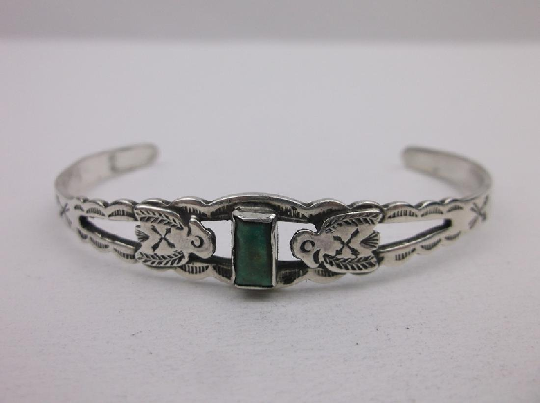 1940s Maisels Sterling Turquoise Cuff Bracelet T Bird