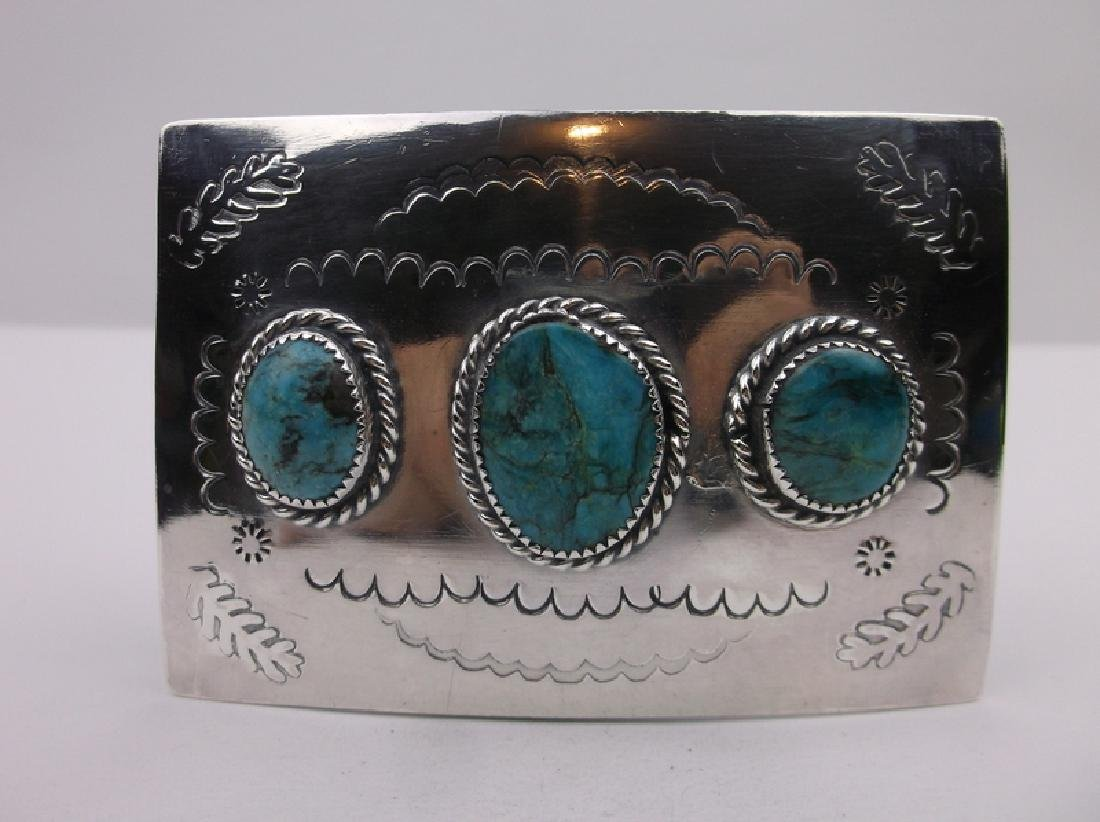 Huge Navajo Sterling Turquoise Belt Buckle Stunning
