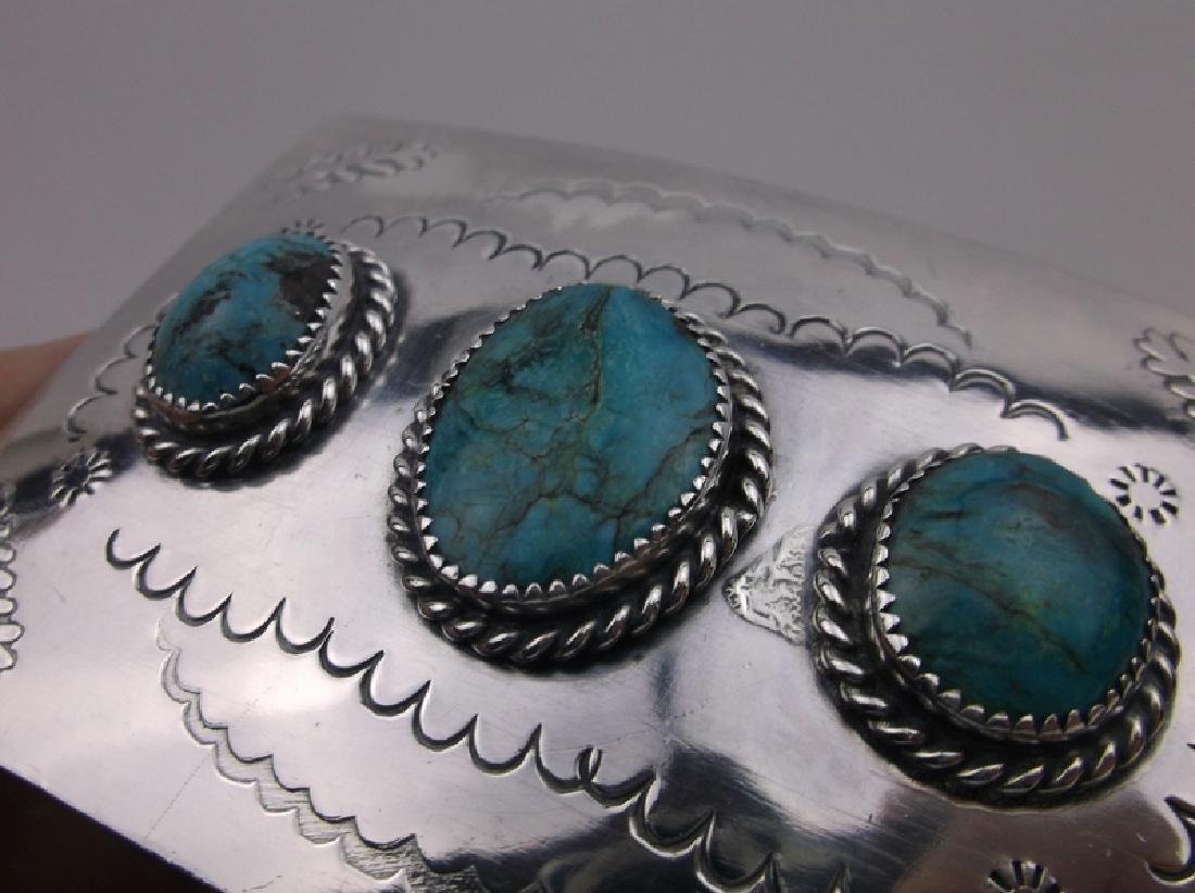 Huge Navajo Sterling Turquoise Belt Buckle Stunning - 4