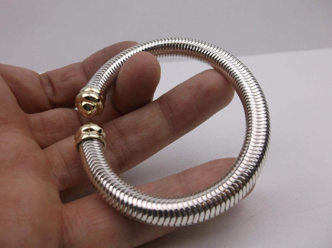 14kt Gold Sterling Millipede Flex Bracelet Stunning - 2