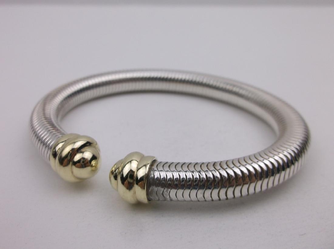 14kt Gold Sterling Millipede Flex Bracelet Stunning - 3