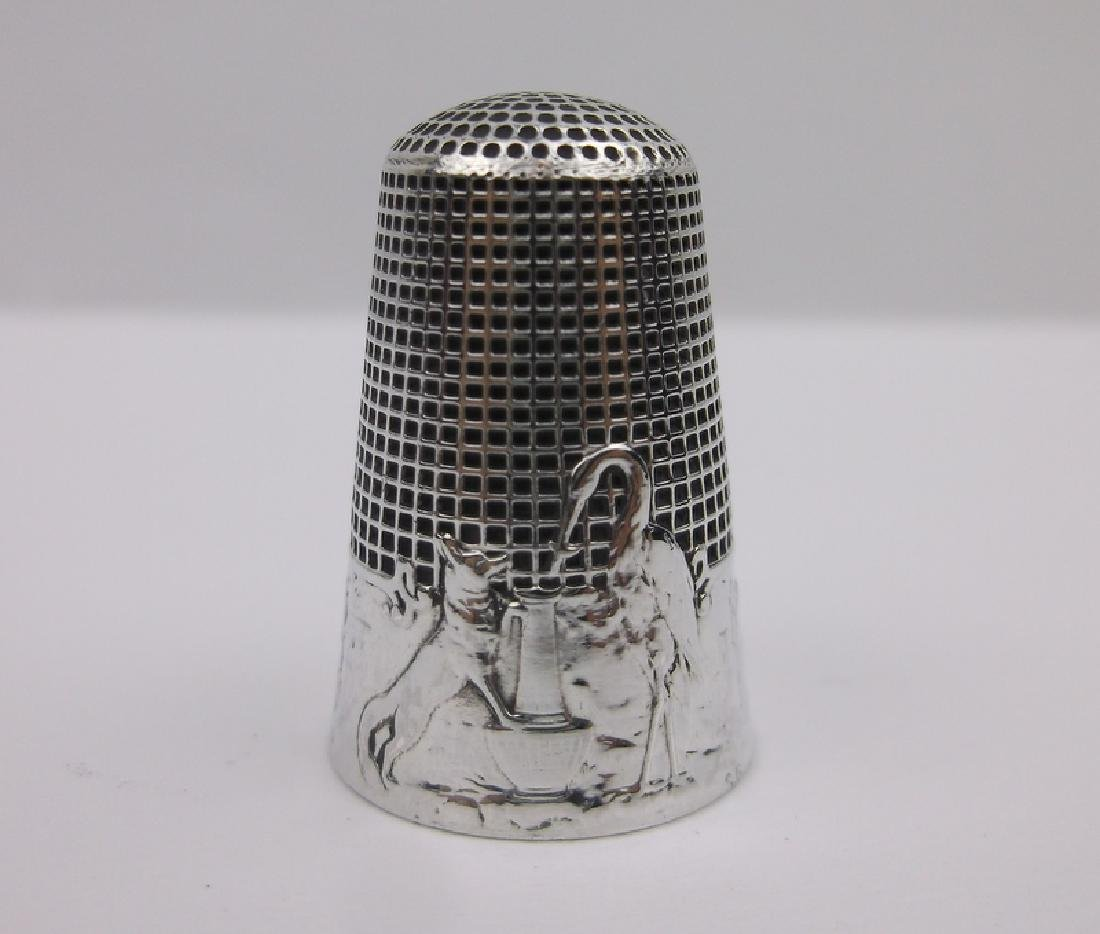 Rare French Fable Sterling Thimble Fontaine Dog Crane