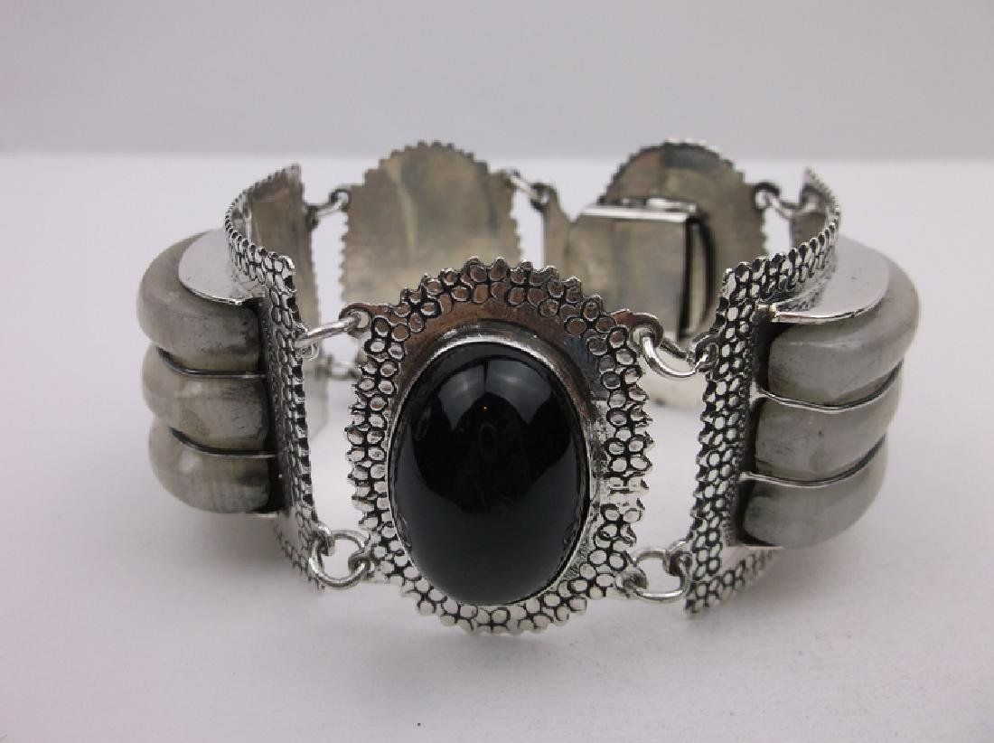 Incredible Taxco Sterling Onyx Rock Crystal Bracelet