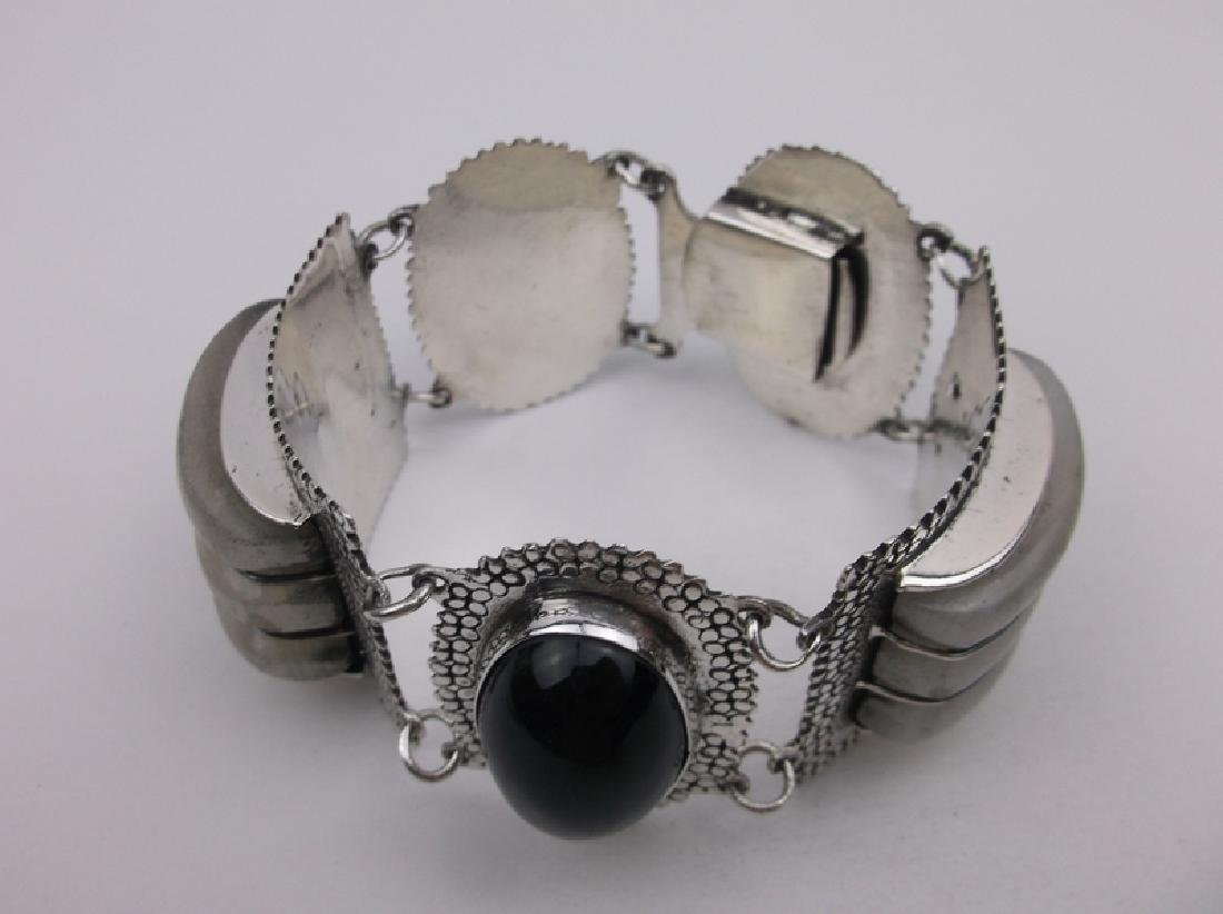 Incredible Taxco Sterling Onyx Rock Crystal Bracelet - 2