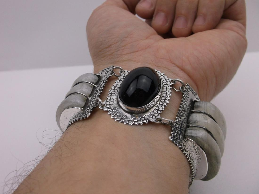 Incredible Taxco Sterling Onyx Rock Crystal Bracelet - 9