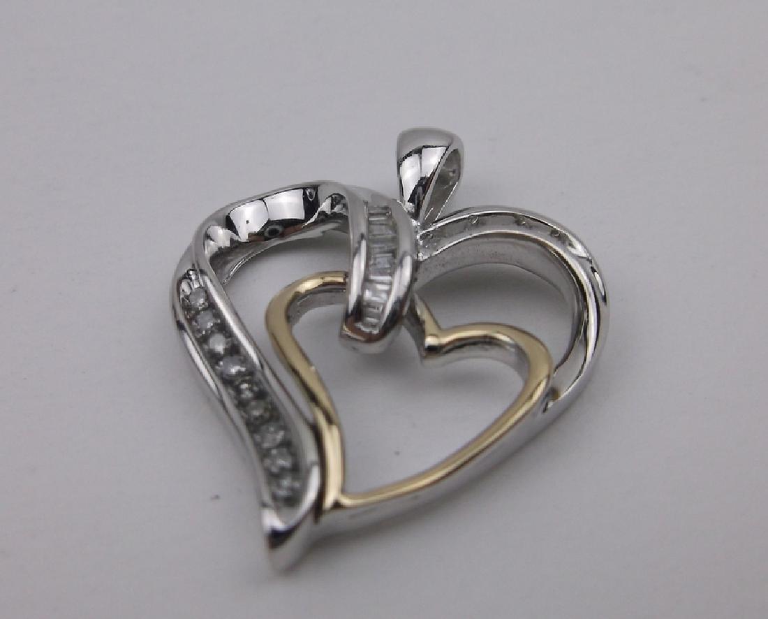 14kt Gold Sterling Diamond Heart Pendant Stunning