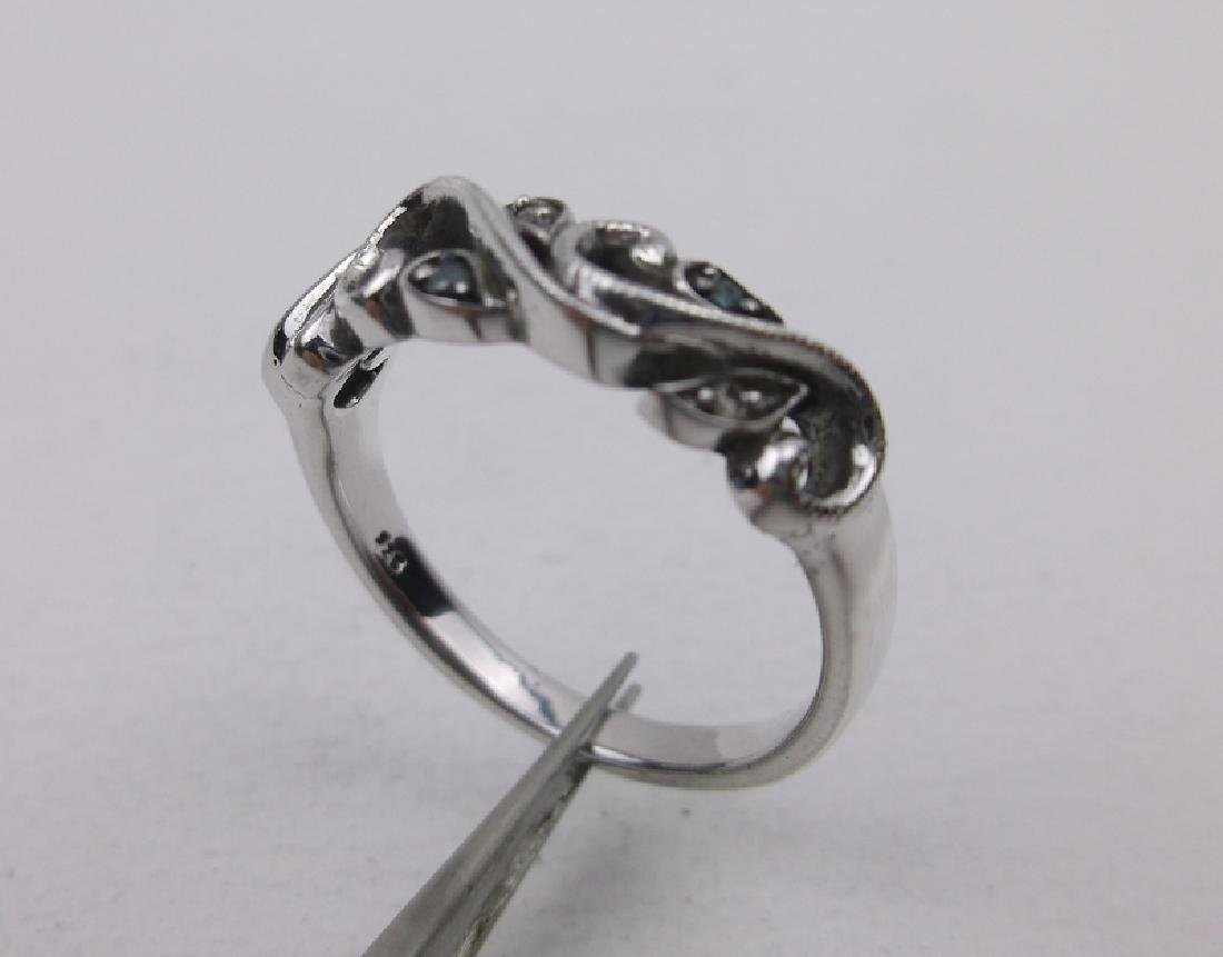 Sterling Diamond Sapphire Ring 6.75 Stunning