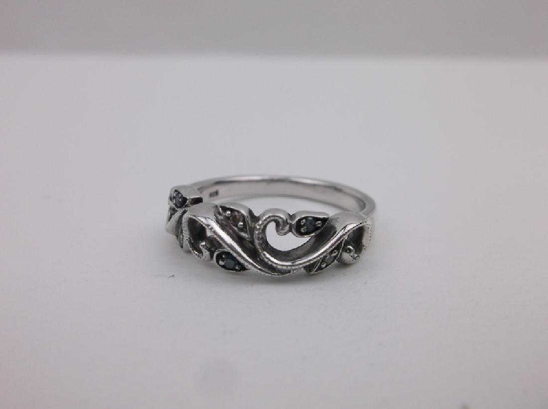 Sterling Diamond Sapphire Ring 6.75 Stunning - 2