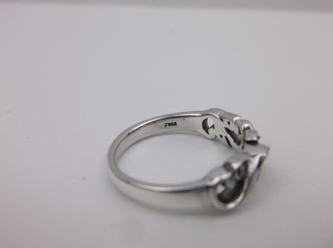 Sterling Diamond Sapphire Ring 6.75 Stunning - 3