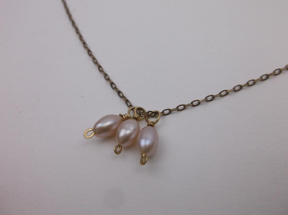 """Gorgeous 10kt Gold Pearl Necklace 17"""" - 2"""